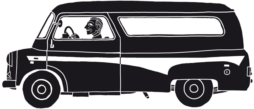 An illustration of a man driving a van