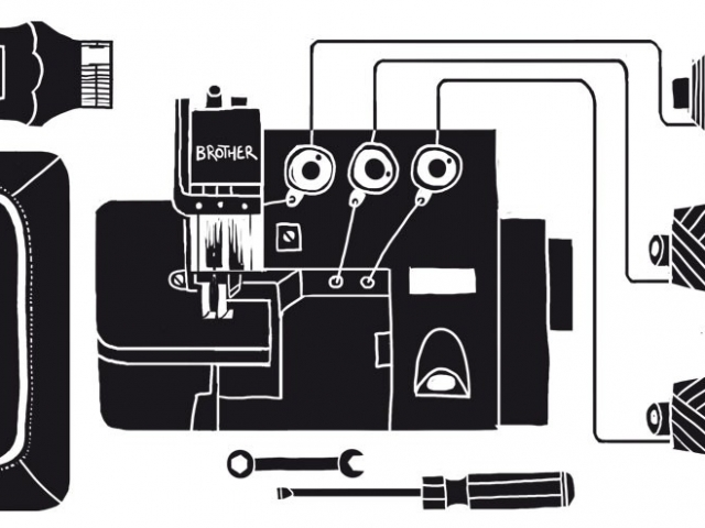 An abstract diagram of a textiles workshop with sewing machine