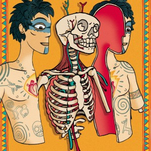 "alt=""mexican style image of an anatomical dissection of a man with tatoos"""