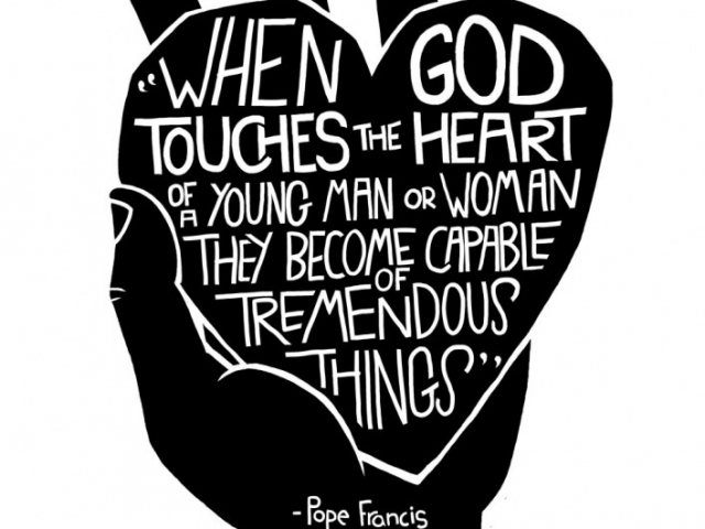 An illustration of a hand holding a heart with a quote from pope francis on it