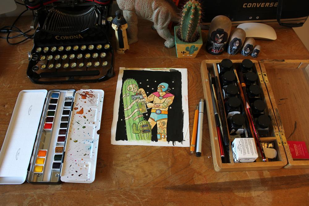 john-paul-de-quay-Luchador-cactus-beer-illustration-desk