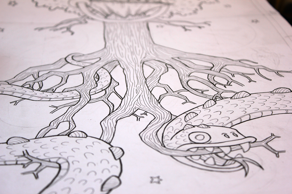 illustration of Jörmungandr the midgard serpent and yggdrasil tree roots