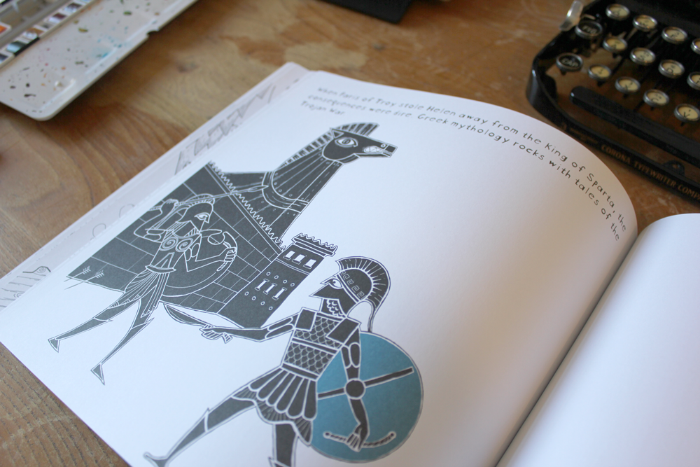 illustration of the trojan horse in ancient greek pottery art style