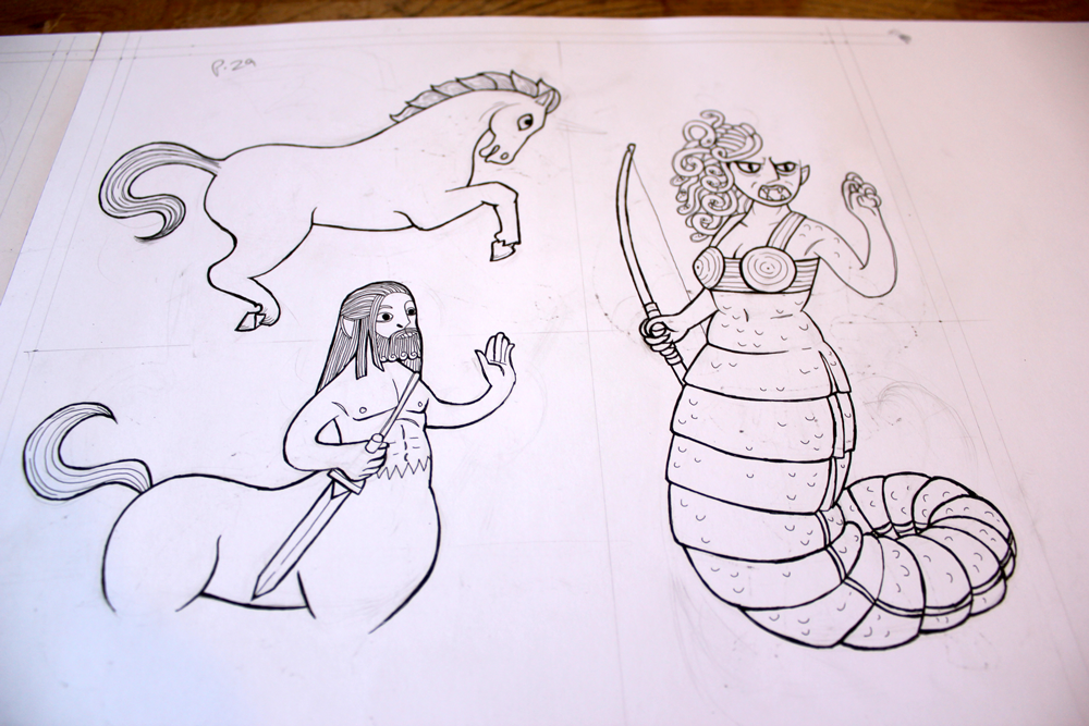 line art ink illustrations of medusa, peagsus and centaur