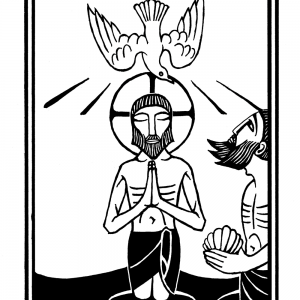 "alt=""woodcut illustration of jesus and john the baptist with dove"""