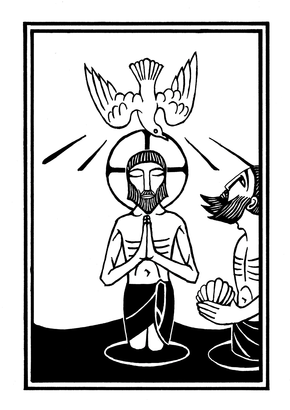 woodcut illustration of jesus and john the baptist with dove