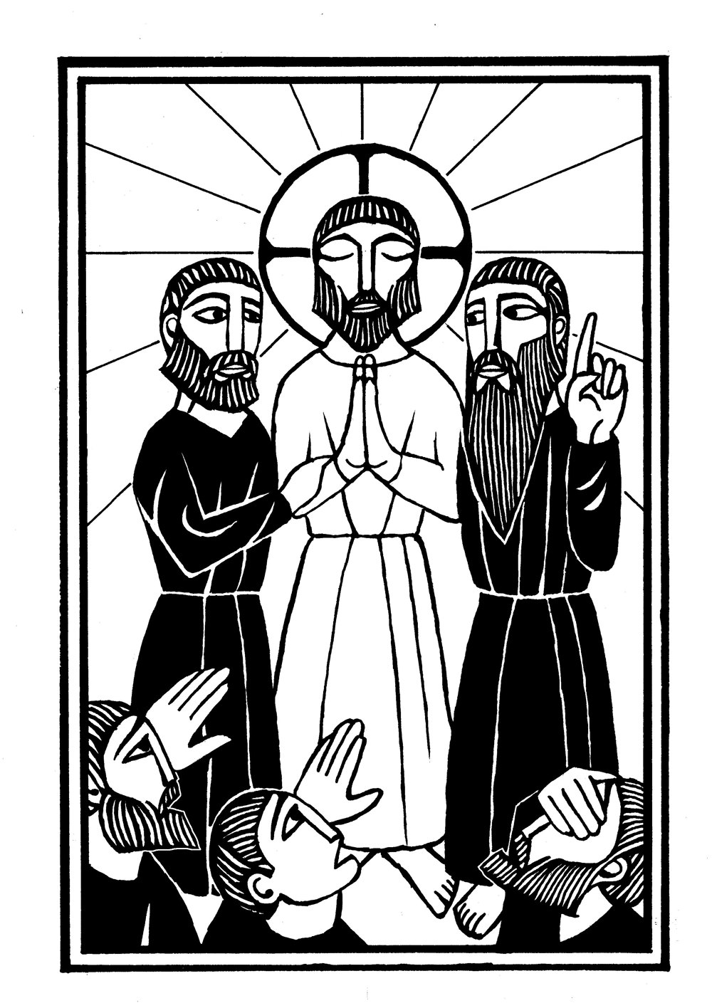 woodcut illustration of jesus with moses and elijah at transfiguration. mysteries of light
