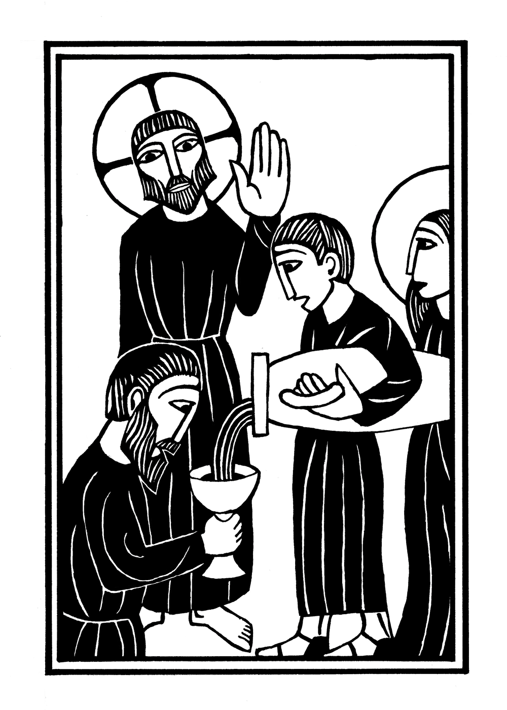 "alt=""jesus at the wedding at cana woodcut illustration from the mysteries of light"""
