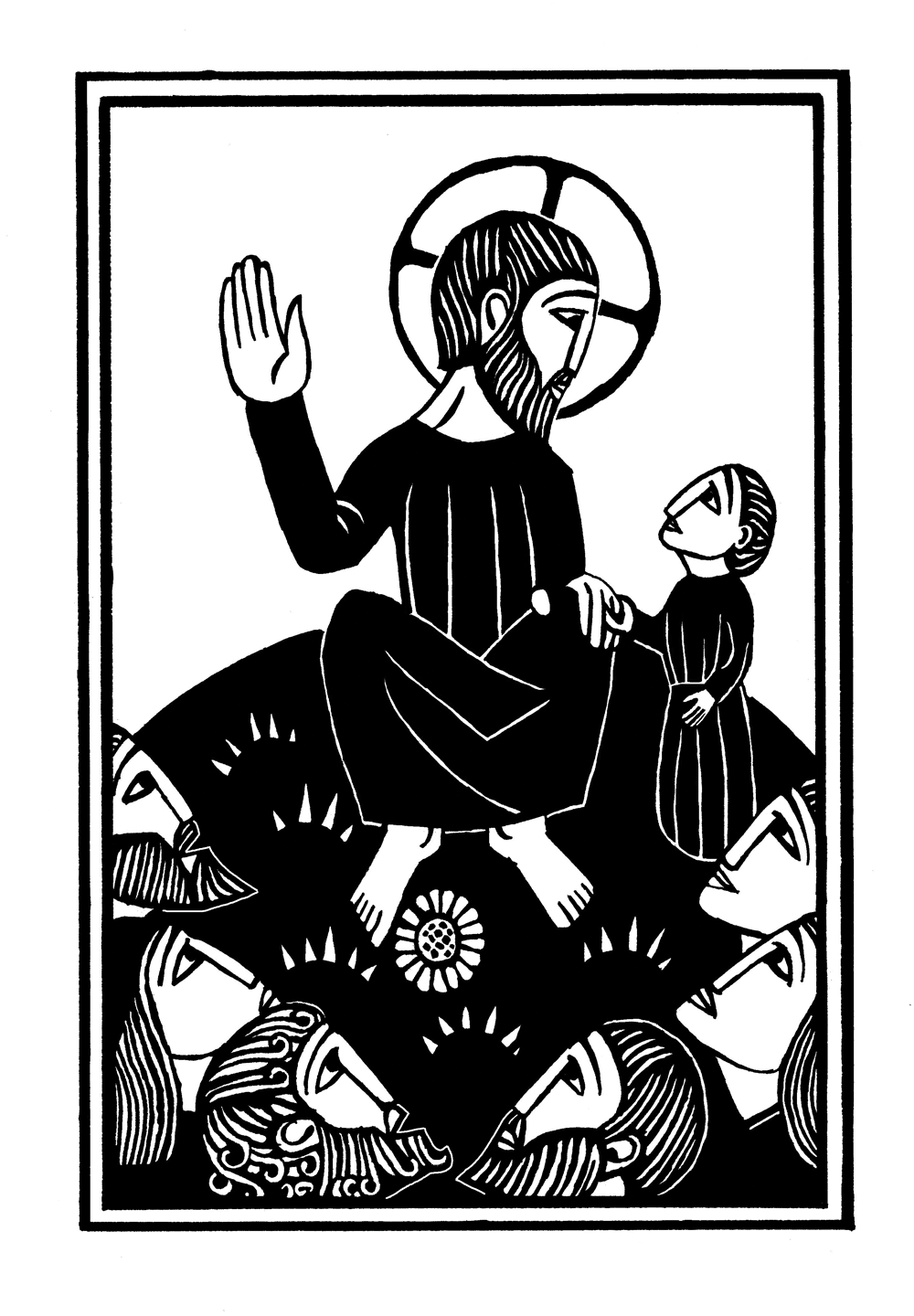 "alt=""woodcut illustration of jesus at the sermon on the mount from the mysteries of light"""