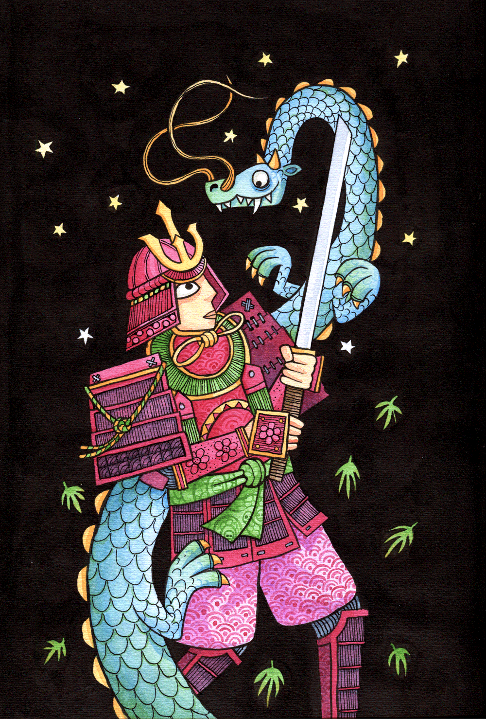 "alt=""Illustration of a samurai fighting a japanese dragon in watercolour and ink"""