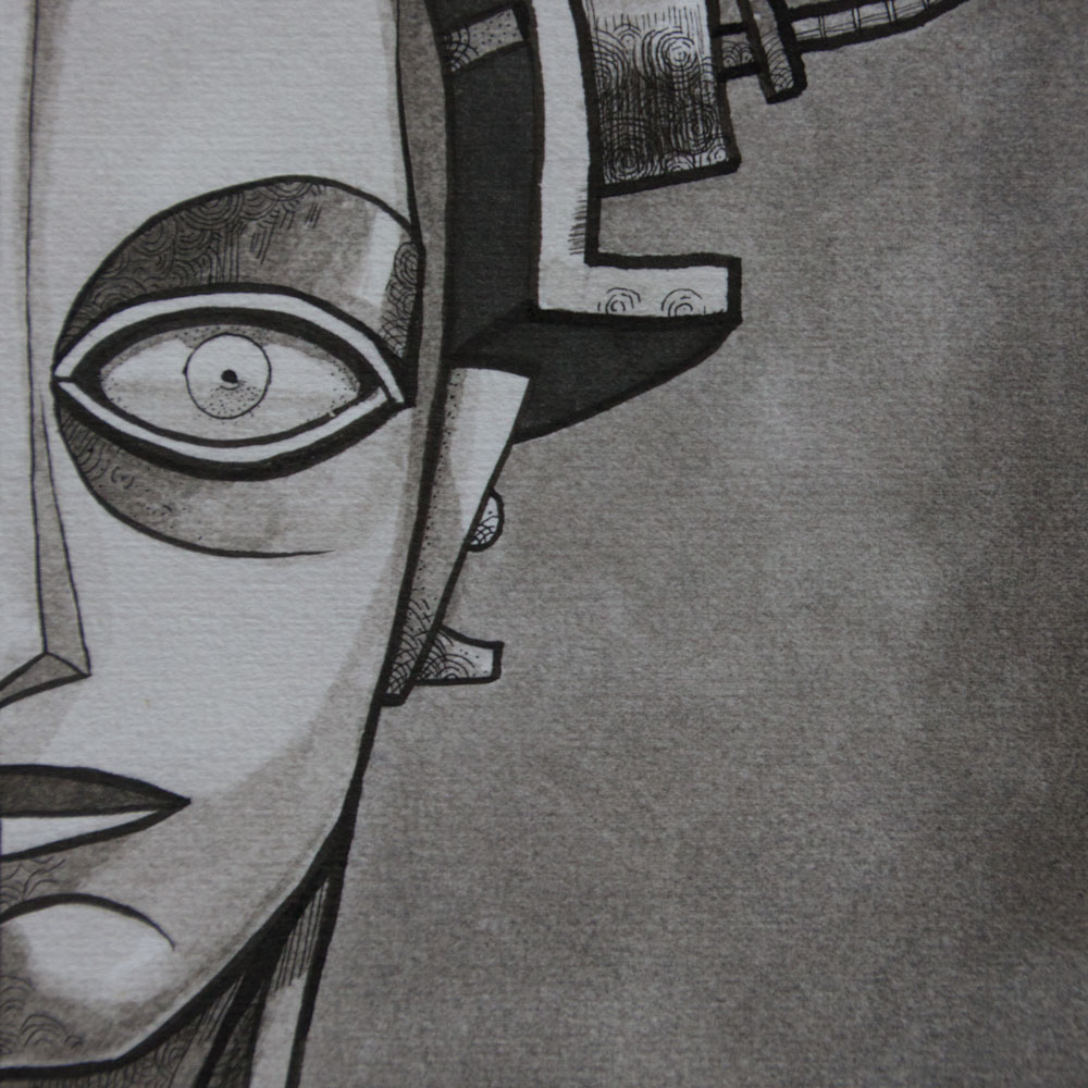 A close up photo of an illustration of the robot from metropolis. The illustration is a black and white ink drawing.