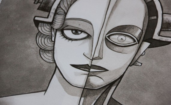 A close up of a black and white illustration portrait of Maria and the Robot from the film Metropolis
