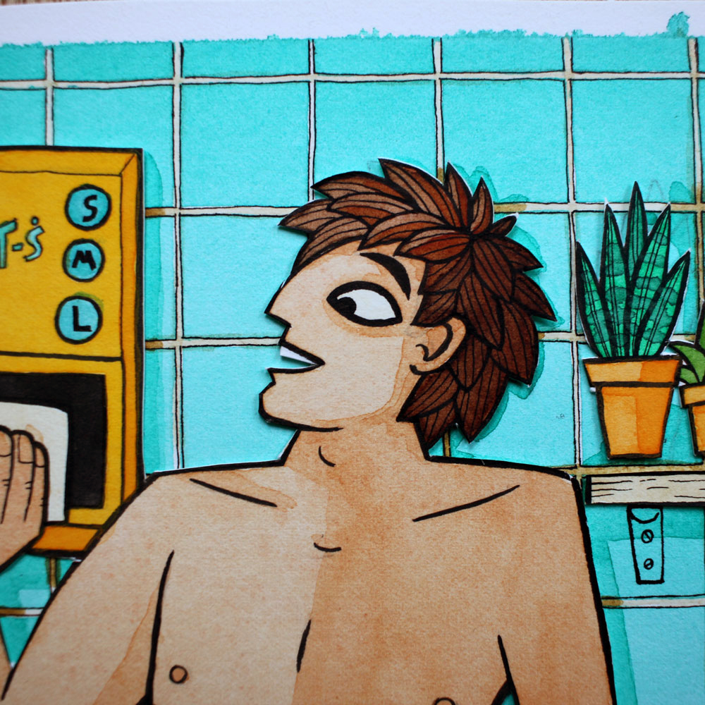 A watercolour illustration of a man in a bathroom