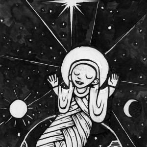 Baby Jesus in swaddling clothes with planet earth
