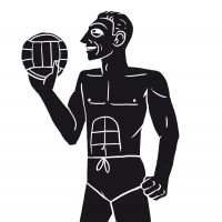 An illustration of a man playing beach volleyball
