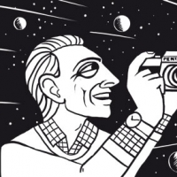 An image of an illustration of a man taking photos of the stars