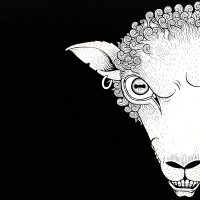 "alt=""black and white line drawing of a sheeps head for metal band bleeting apocalypse. black sheep"""
