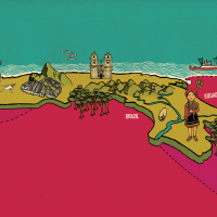 digital colour illustration of a map of peru