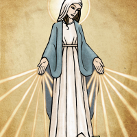 "alt=""digital colour religious illustration of mary mother of god"""