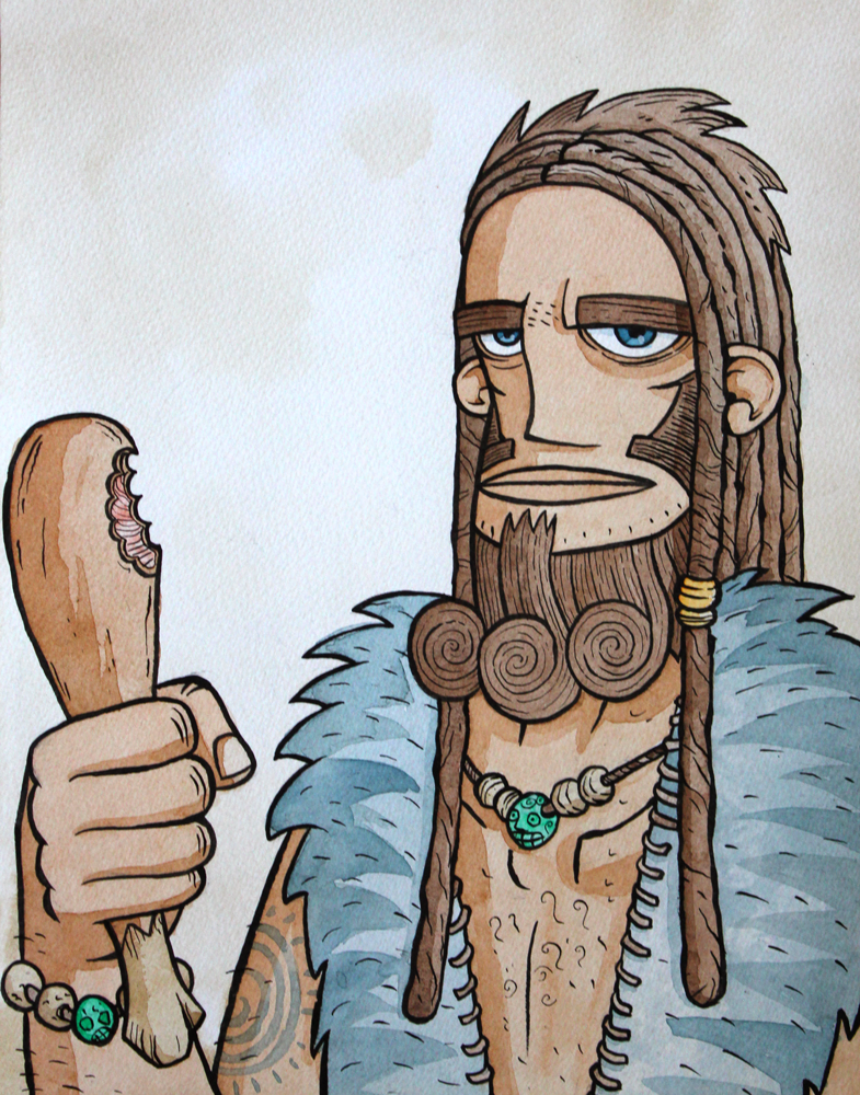 neanderthal watercolour caveman portrait