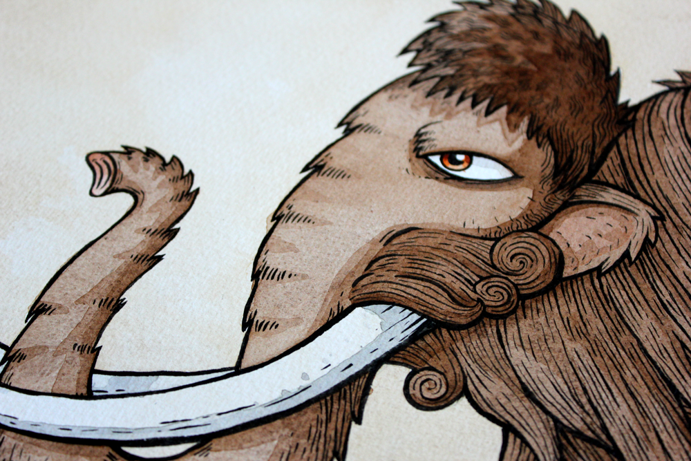 mammoth ink and watercolour illustration