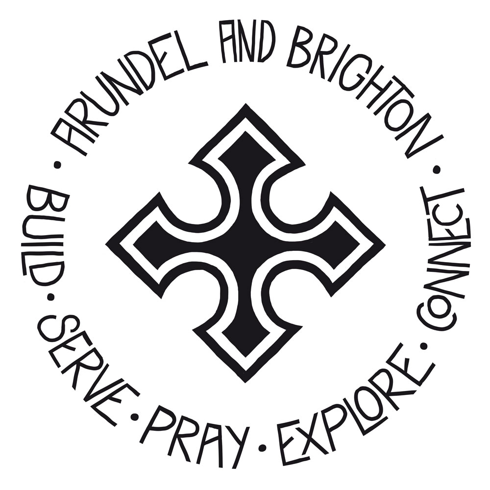 A black and white logo for a catholic organisation