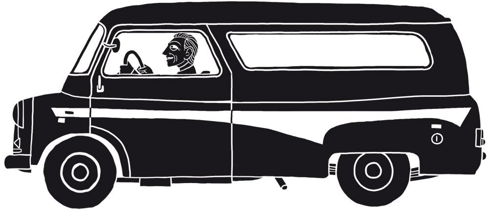 An illustration of a man driving a van