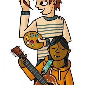 A colour illustration of creative arty youths