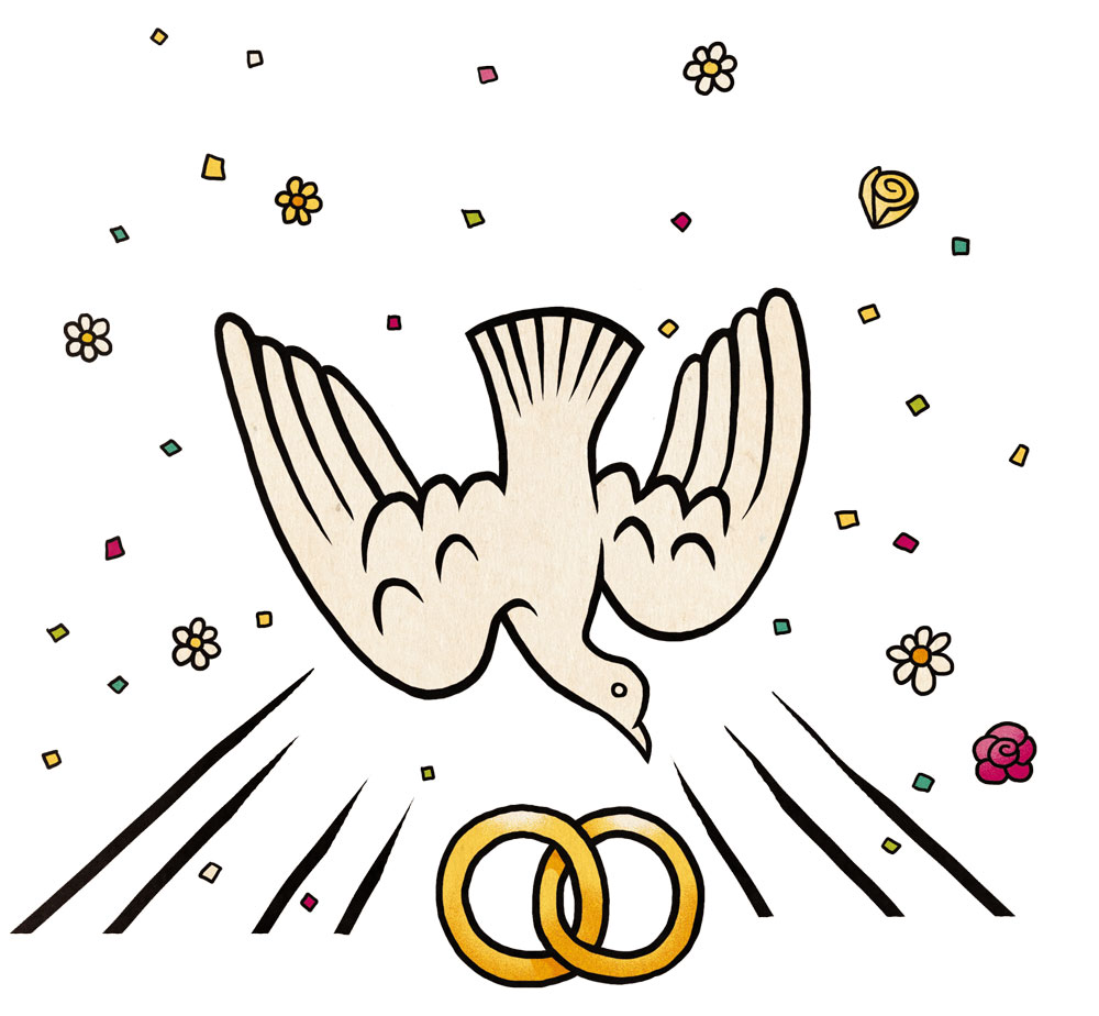An image of the holy spirit as a dove descending on wedding rings