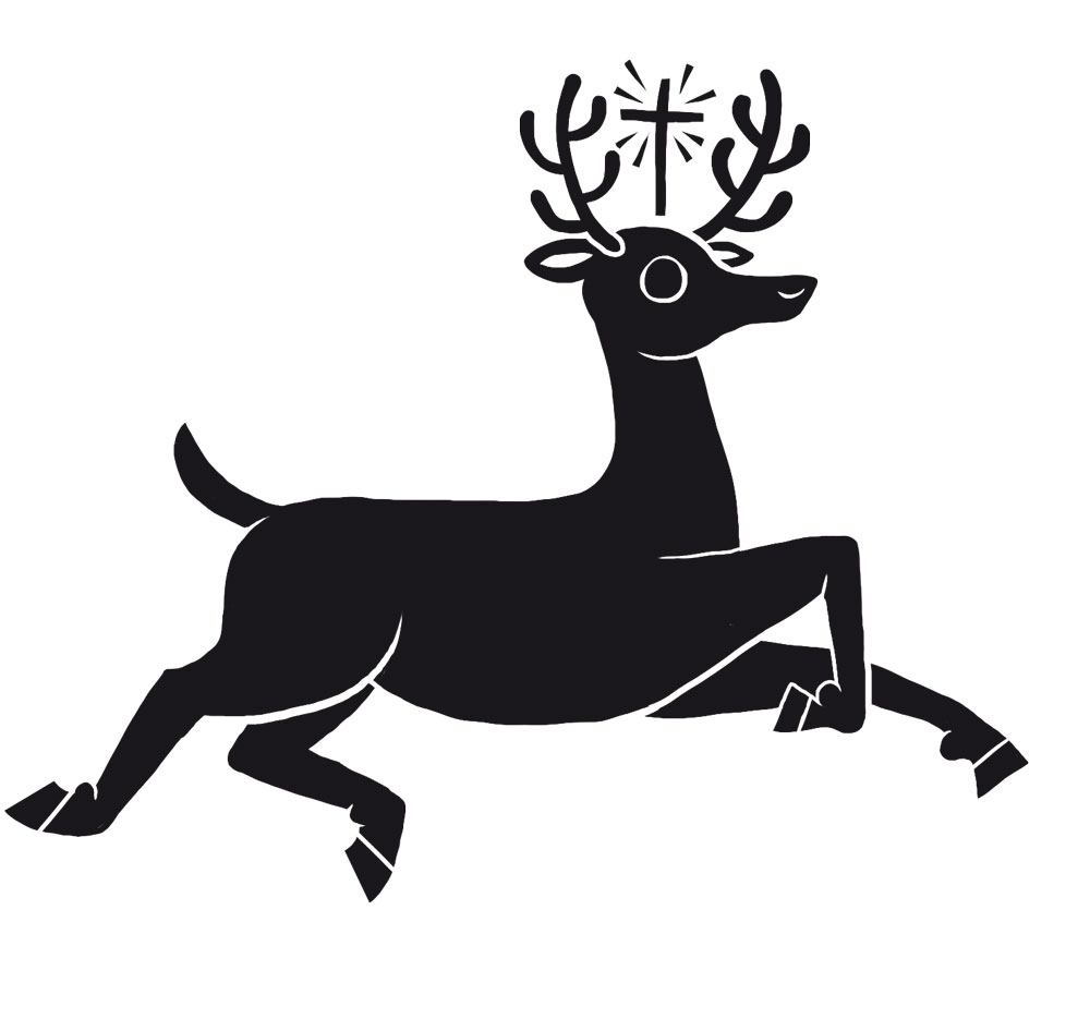 An Illustration of a St Hubert'sdeer stag with a cross in it's antlers
