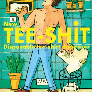 An illustrated image of a man throwing away a dirty tshirt instead of washing it. He is reaching for a new t-shirt from a disposable t-shirt dispenser.