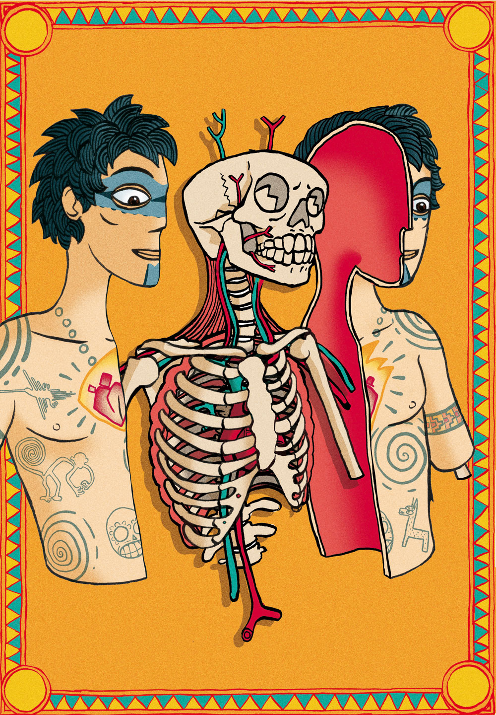 """alt=""""mexican style image of an anatomical dissection of a man with tatoos"""""""