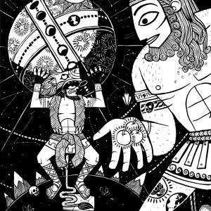 An illustration of Atlas bringing Herecules the three golden apples while he holds up the globe. from the myth the twelve labours of herecules
