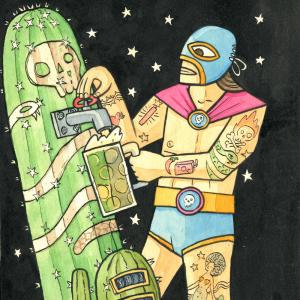 "alt=""image of Mexican luchador wrestler with a cactus"""