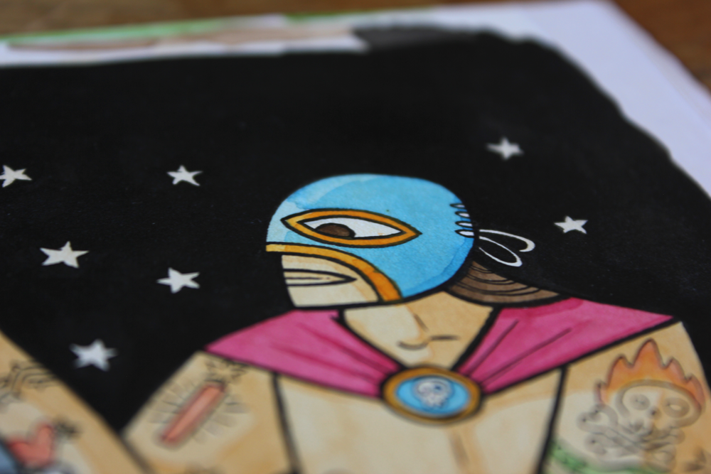 mexican luchador wrestler illustration in watercolour