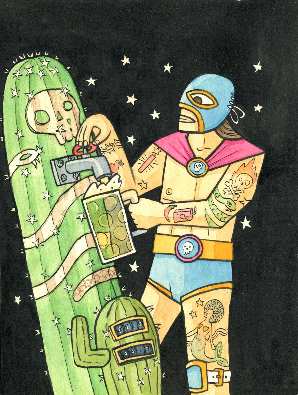 "alt=""image of Mexican luchador wrestler with a cactus"""