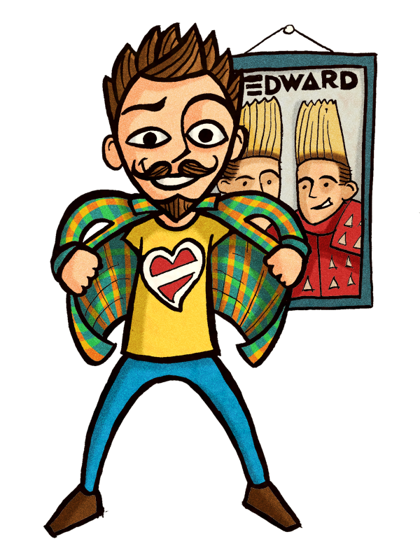 An illustration of a eurovision song contest fan and jedward