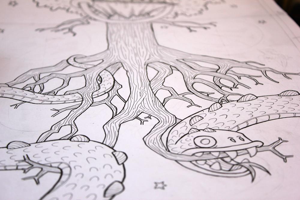 illustration of Jörmungandr the midgard serpent and yggdrasil tree roots
