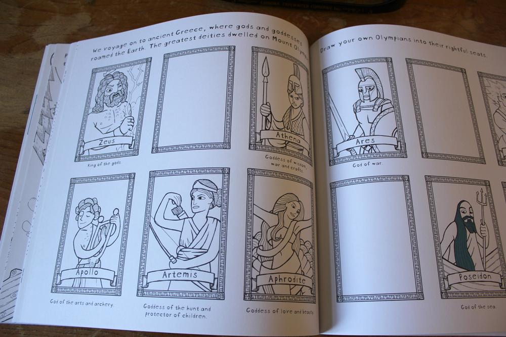 colouring book illustration of greek gods and goddesses zeus, athena, ares, poseidon, artemis, apollo