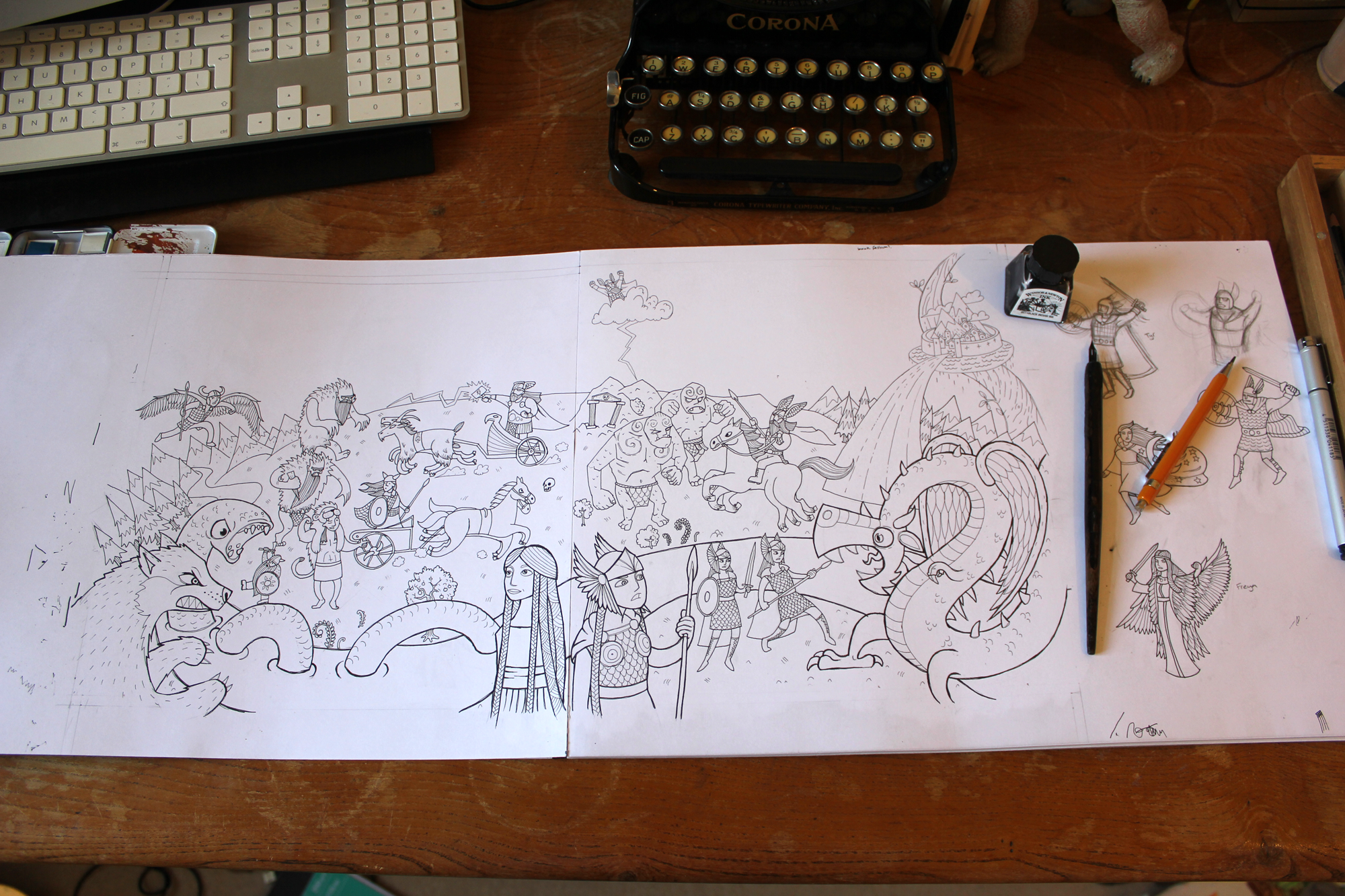 drawing the cover of templars myths and legends activity book
