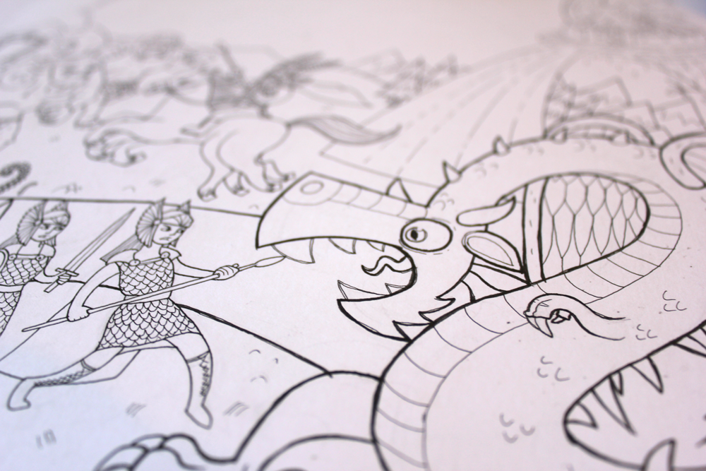 line art ink illustration of valkyrie fighting a norse dragon