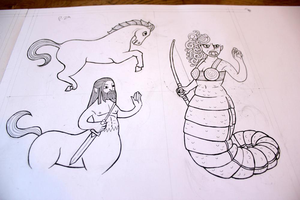 line art ink illustrations of medusa, peagsus and centaur