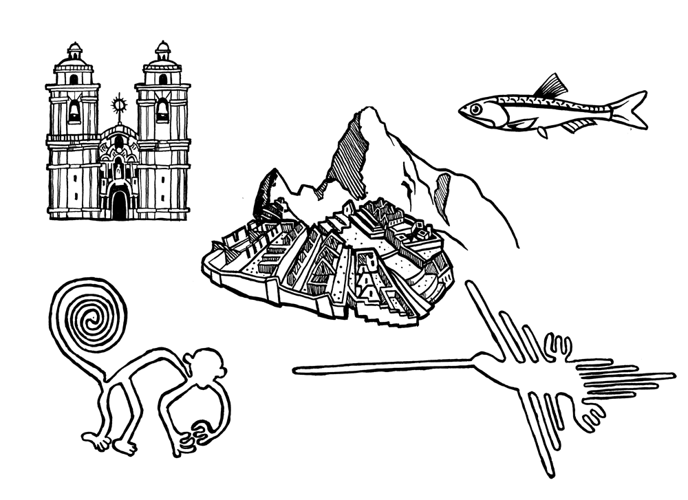 line art ink drawings of peru and nazca lines