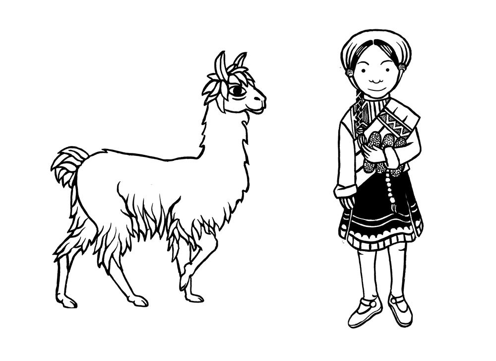woodcut style illustrations of a llama and peruvian girl