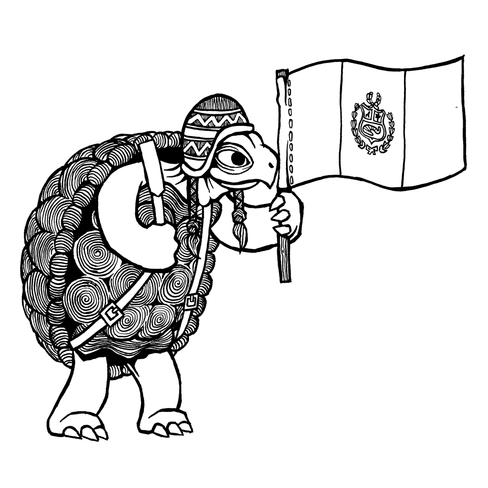 Line art illustration of a backpacking turtle