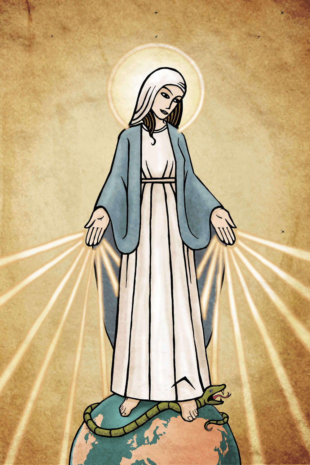 digital colour religious illustration of mary mother of god
