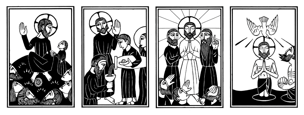 black and white woodcut images of jesus and the mysteries of light.