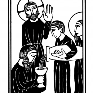 """alt=""""jesus at the wedding at cana woodcut illustration from the mysteries of light"""""""