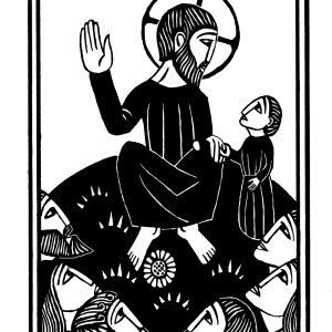 """alt=""""woodcut illustration of jesus at the sermon on the mount from the mysteries of light"""""""
