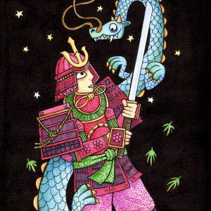 """alt=""""Illustration of a samurai fighting a japanese dragon in watercolour and ink"""""""